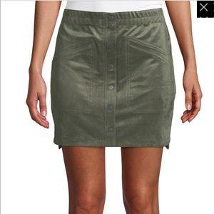 BCBGMaxAzria Faux Suede Olive Skirt
